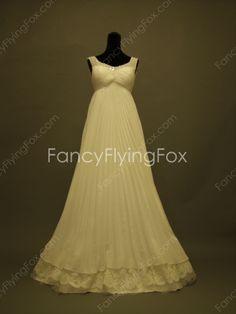Scoop Neckline Ivory Chiffon Full Length Empire Maternity Wedding Dresses With Lace at fancyflyingfox.com