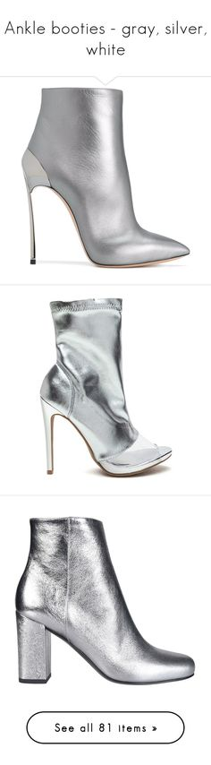"""""""Ankle booties - gray, silver, white"""" by leaff88 ❤ liked on Polyvore featuring shoes, boots, ankle booties, heels, scarpe, grey, grey ankle boots, gray ankle boots, high heel ankle booties and leather ankle boots"""