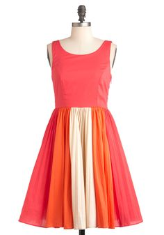 $99.99- Cafe Romance Dress - Mid-length, Multi, Orange, Pink, Tan / Cream, Party, Vintage Inspired, 50s, Sleeveless, Summer, Buttons, Fit & Flare, Colorblocking, Exclusives, Cocktail, Coral