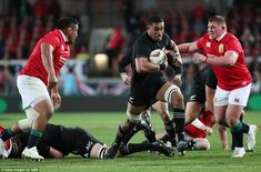 Kaino once again bulldozes his way through the Lions line as he sets New Zealand on the at. Jerome Kaino, British And Irish Lions, Eden Park, All Blacks, Rugby, New Zealand, Running, Sports, Hs Sports