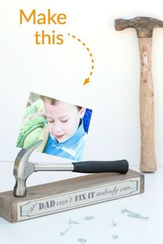 Your handyman will love this stand made from an old hammer, wood base, glue, and construction paper. Use it showcase your favorite memory of Dad, a heartfelt card, or sweet photo. Get the tutorial at Togally.
