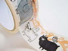Decorative tape Animal Parade from Betty and by CommeLesLoups, $10.25--PUGS on this tape!!!! I need this!!!!!!