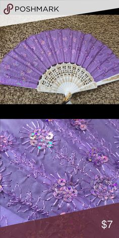 Deluxe sequin foldable fan (Purple Mist) Deluxe foldable fans for sale. Have an event, performance, wedding, or concert coming up? Want to give a wonderful gift? Do you like beautiful things? Whether these are props or practical accessories to beat the heat, you are guaranteed to find a style that suits you best! Choose from 12 different varieties which are all listed, would look great mixed and matched. 1 for $7 or 2 for $12. Thank you for looking! Please check out my other listings…
