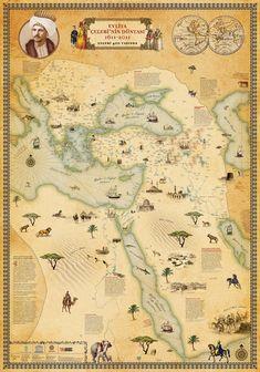 18. yüzyılda Seyahatname'nin İstanbul'a gönderildiği yıllarda Kahire'den Vati-kan'a gelen bu harita, kaba bez üzerine çizilmiş. Uzunluğu 543 cm olan haritanın yukarısında Nil'in kaynağı, aşağısında Nil deltası bulunuyor. Yani Güney yukarıda, Kuzey aşağıda yer alıyor. Eni, yukarıda 88, aşağıda 45 cm olan harita üzerinde Nil, kaynağı olarak kabul edilen Cebel-i Kamer dağından çıkar, Kızıldeniz ile Libya çölü arasına sıkıştırılmış biçimde uzanır, Kahire'de iki kola ayrılıp Akdeniz'e ulaşır.