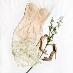We love nudes   Somebody Else Tube Dress  On Sleek Ankle Strap Pumps