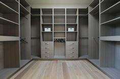Brilliant Luxurious Home in Modern Interior Design: Fabulous Laurel Walk In Closet Design With Grey Painted Cabinets And Shelves To Keep Fas. Walk In Closet Design, Wardrobe Design, Built In Wardrobe, Closet Designs, Walk In Robe Designs, Wardrobe Doors, Dressing Design, Home Design, Interior Design