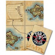 Pirate Pary Supplies, Pirate's Map Invitations, Pirate Invitations