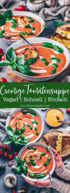 This recipe for creamy vegan tomato soup is quick and easy to prepare in under 20 minutes! The homemade soup is made from fresh juicy tomatoes, roasted garlic and onions, and is so delicious! Vegan Tomato Soup, Tomato Soup Recipes, Vegan Soups, Vegan Recipes, Tomato Basil, Quick Recipes, Homemade Bagels, Homemade Soup, Tomato Soup From Scratch