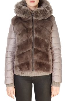 This is the stunning 'RoAnne' Taupe Rabbit Front Puffer Coat from our friends at Intuition! SHOP NOW! Sheepskin Coat, Intuition, Taupe, Shop Now, Rabbit, Fur Coat, Winter Jackets, Clothing, Shopping