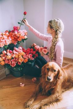 Barefoot Blonde, flowers & her cute pup