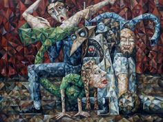 """""""The Improvisers"""" Oil on Canvas, X By moving their bodies and using their voices they'll tell you a story, which they've read in an unframed picture fished out from the depths of the subconscious. Buy Paintings, Painting Prints, Oil On Canvas, Canvas Art, Original Art, Original Paintings, Cubism Art, Art Studies, Art Oil"""