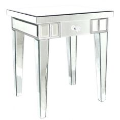 Lamp Table With Silver Finish...Height: 50cmDepth: 40cmDiameter:  40cmLength: Side Table DecorMirrored Side TablesDrawer ...