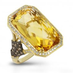 Dabakarov 14KYG Citrine Diamond Ring