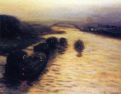 Bridge and Barges on the River - Edward Willis Redfield 1902 American Impressionism Impressionist Landscape, Landscape Art, American Impressionism, John Singer Sargent, Grain Of Sand, Traditional Landscape, American Artists, Wild Flowers, River