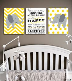 Perfect for your new baby! You are my Sunshine, my only sunshine typographical art work, and two elephants, with chevron and polka dot