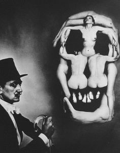 Salvador Dalí portrait, In Voluptas Mors In Voluptas Mors, a surrealistic portrait of Dali beside a large skull, in fact a tableau vivant composed of seven nudes. Halsman took three hours to arrange the models according to a sketch by Dali.