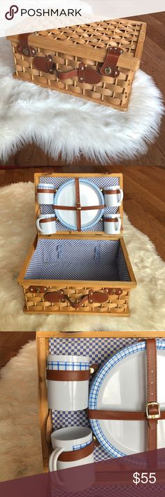 French picnic basket Luxe picnic basket. Includes set of four plate/cups. Space available for other utensils. Able to carry wine bottles and other picnic finger foods. Used for some of my favorite memories! Accessories
