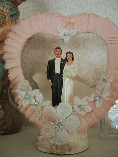 Vintage wedding cake topper in pink