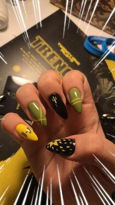 Twenty One Pilots Nail Design - JLRA These are real cute, I need to have someone with talent do my nails Twenty One Pilots Concert, Twenty One Pilots Art, Cute Nails, Pretty Nails, Band Nails, Twenty One Pilots Aesthetic, Top Nail, Nail Inspo, How To Do Nails