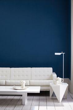 Prachtige blauwe kleur op muur (littlegreene)