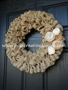 shabby chic burlap crafts | Shabby Chic Burlap Bubble Wreath Cream & Tan by poshcreationsKY, $55 ...