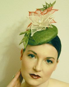 Green Pink and Ivory Flower and Leaf fascinator by IveyMillinery, £157.00