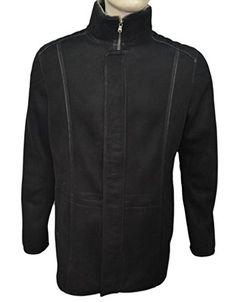 Zavelio Men's Genuine Shearling Sheepskin and Leather Classic Long Winter Coat