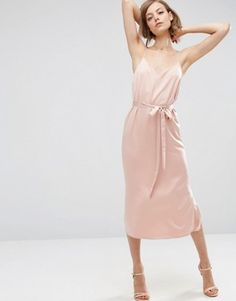 Search for cami slip dress at ASOS. Shop from over styles, including cami slip dress. Discover the latest women's and men's fashion online Pink Satin Dress, Pink Midi Dress, Belted Dress, Satin Dresses, Pink Silk, V Neck Midi Dress, Asos Dress, Vestidos Vintage, Vintage Dresses