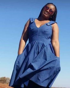Modern Shweshwe fashion trends - Reny styles African Traditional Dresses, African Print Dresses, Indigo, Cotton Fabric, Wrap Dress, Modern, Clothing, Stuff To Buy, Fashion Trends