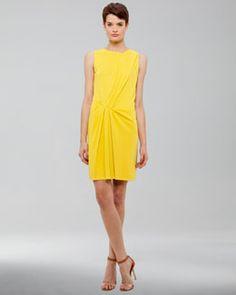 B22B8 Akris Punto Draped Jersey Dress, Citron