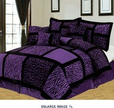 11 Piece Queen Safari Purple and Black Patchwork Micro Suede Bed in a Bag Set