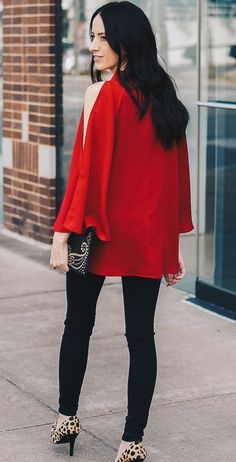 #winter #outfits red top