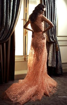 World of Glamour - apricot beaded lace dress