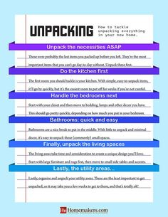 Wondering where to start with unpacking after a move? Our checklist will help you get your home in order in no time! Unpacking After Moving, Unpacking Tips, Moving List, Moving Hacks, Moving House Tips, Moving Home, Moving Day, New Home Checklist, Moving Checklist