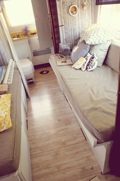 darling motor home remodel. She gives tips and tutorials. Best site yet I have seen!!!! like the folding bathroom door & floor