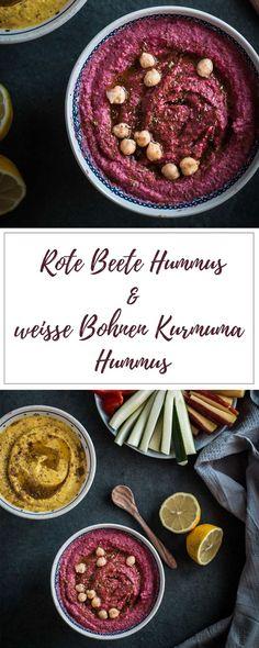Hummus ist eines meiner liebsten Rezepte und so gesund! Besonders meine Varianten mit Roter Beete und weißen Bohnen und Kurkuma! Probiert Sie unbedingt mal aus. #vegan #vegetarisch #laktosefrei #glutenfrei #glutenfreerecipes #hummus #kurkuma #zuckerfrei - www.appleandginger.de