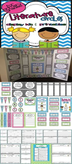 literature circle or guided reading display board plus student worksheets {for primary grades}