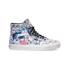 Vans Sk8-Hi Reissue High Top - Paint Splatter Pink/True White Casual... ($75) ❤ liked on Polyvore featuring shoes, sneakers, casual footwear, casual shoes, white sneakers, white skate shoes, pink high tops, white high tops and skate sneakers