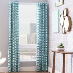 Mercury Row Cyrene Double Drape Curtain Panel in Teal & Reviews | Wayfair
