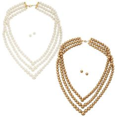 Elegant, classic and a set! The Avon North Star Triple-Layer Pearlesque Necklace and Earring Gift Set is a three-layer goldtone necklace with faux pearls. Can't get enough? Be sure to purchase the coordinating Avon North Star Stretch Bracelet and Avon North Star 16-Pair Earring Set. Regularly $14.99, shop Avon Jewelry online at http://eseagren.avonrepresentative.com