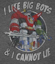 NerdKungFu - Voltron I Like Big Bots and I Cannot Lie T-Shirt, $19.95 (http://www.nerdkungfu.com/voltron-i-like-big-bots-and-i-cannot-lie-t-shirt/)