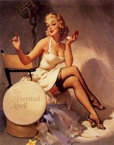 """/""""Sheer Delight/"""" Vintage Style Elvgren Brunette PinUp Girl Poster 16x20"""