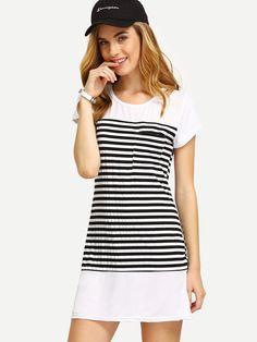 Vestido estilo camiseta a rayas-(Sheinside)