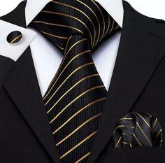 Men's Silk Coordinated Tie Set - Black with Gold Stripe – Uylee's Boutique