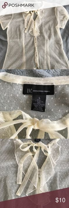 INC CONCEPTS SHEER CREAM BLOUSE , Never worn, this adorable blouse looks cute over my chemise in my closet, the buttons and tie are functional INC International Concepts Tops Blouses