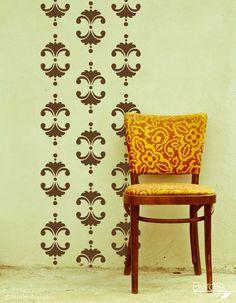 Vinyl Wall Decal, Vintage Floral Damask- 18 Graphics-  Wallpaper, Sticker, item 10033. $58.00, via Etsy.