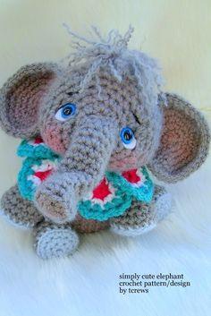 Elephant Crochet PDF Pattern Simply Cute by TLC by thewoolpurl, $4.95.