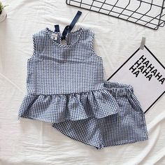 Pretty Plaid Ruffle Tank Top and Shorts Set for Baby Girl and Girl #babytanktops