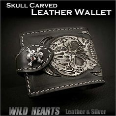Hand carved by artisans using only hand tools! Exquisite custom hand painted leather carving. Skull carved Genuine Leather Half Bifold Biker Wallet WILD HEARTSLeather&Silver (ID ssw01r10) http://global.rakuten.com/en/store/auc-wildhearts/item/ssw01r10/