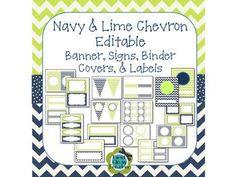 Navy & Lime Chevron and Dot EDITABLE Banner, Signs, Binder 5th Grade Classroom, Classroom Setup, Classroom Design, Future Classroom, Classroom Organization, Classroom Management, Classroom Arrangement, Classroom Decor Themes, Preschool Class